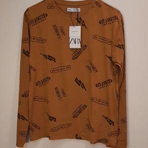 Zara Boys Printed Long sleeve Tees Size 13-14